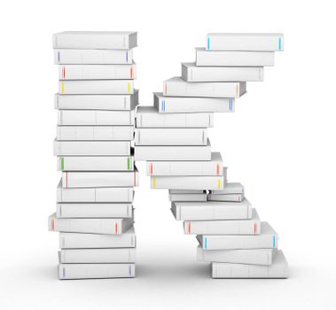 Letter K, stacked from many blank title books in column