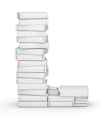 Letter L, stacked from many blank title books in column