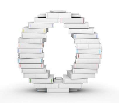 Letter O, stacked from many blank title books in column
