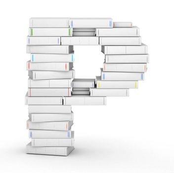 Letter P, stacked from many blank title books in column