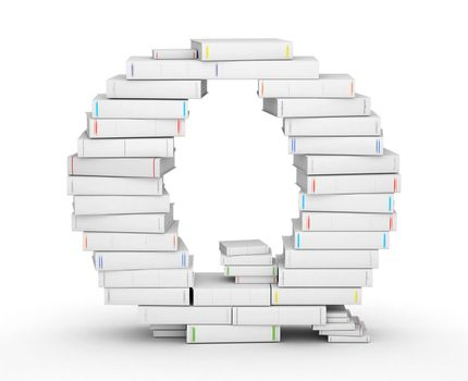 Letter Q, stacked from many blank title books in column