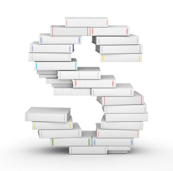 Letter S, stacked from many blank title books in column