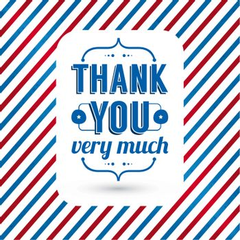 Thank you card on tricolor grunge background. Gratitude card for different occasions. Vector image.