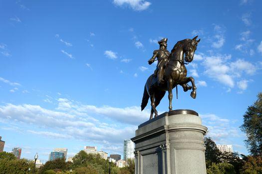 Boston Massachusetts George Washington statue located in the Public Garden.