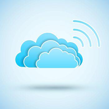 Cloud with  Wifi symbol. Wireless Network icon. Wi-fi zone.. Vector icon