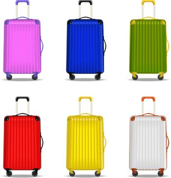 Vector illustration of six suitcases for travel