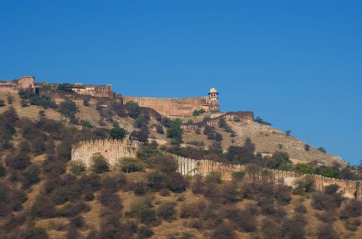 Ancient walls of Amber Fort in Jaipur