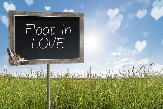 Chalkboard with text Float in LOVE