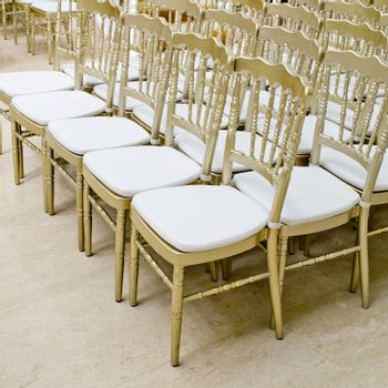 Rows of gold chairs - meeting background