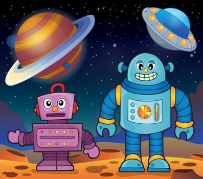 Space theme with robots 2
