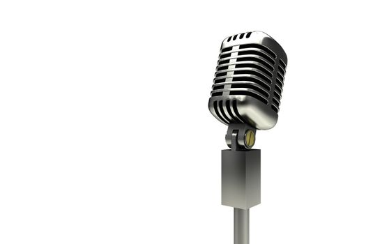 Digitally generated retro chrome microphone