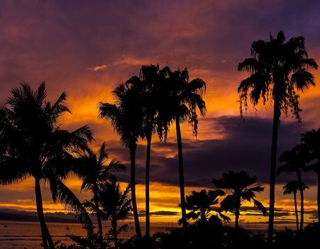 Dark red Hawaiian sunset