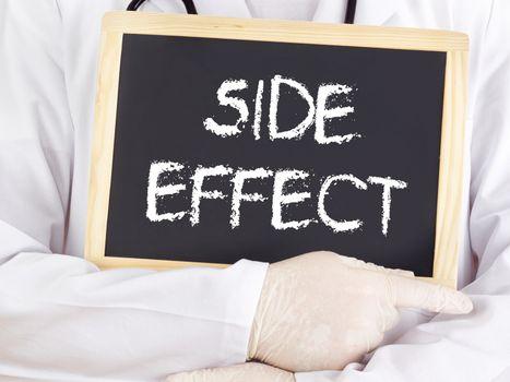 Doctor shows information on blackboard: side effect