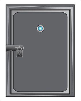 Steel door with outboard lock