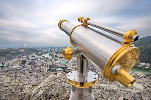 Tourist binoculars in Salzburg, Austira