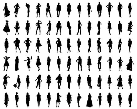 Black silhouettes of fashion, vector