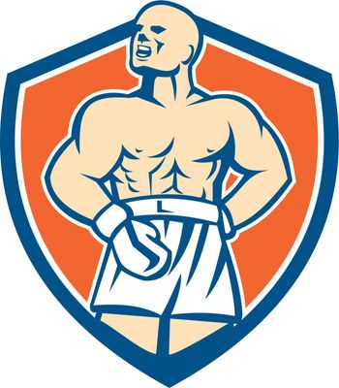 Boxer Champion Shouting Shield Retro