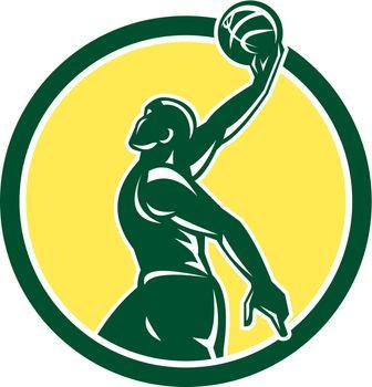 Basketball Player Dunk Ball Circle Retro