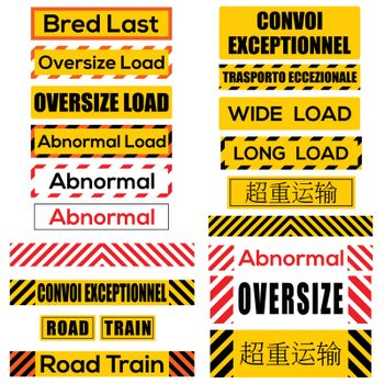 Various oversize load signs and symbols