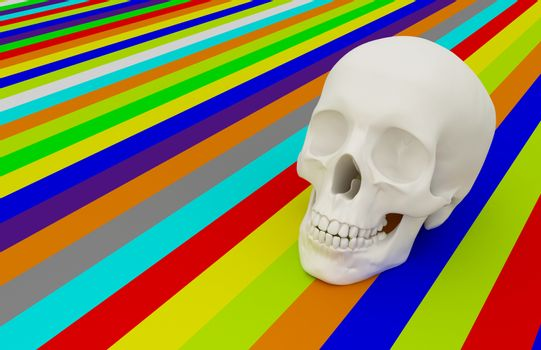 3d skull and colour background
