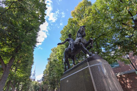 Paul Revere Monument found in Bostons North End on the freedom trail. High dynamic range.