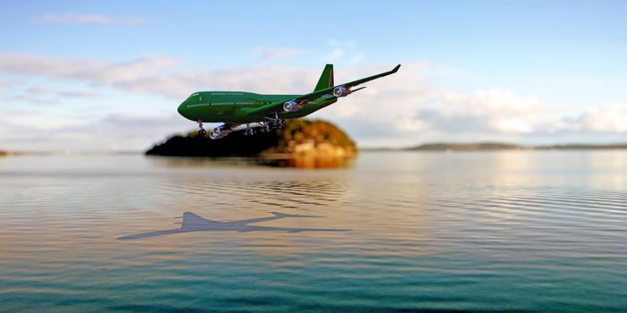 tourism airplane landing close the ocean