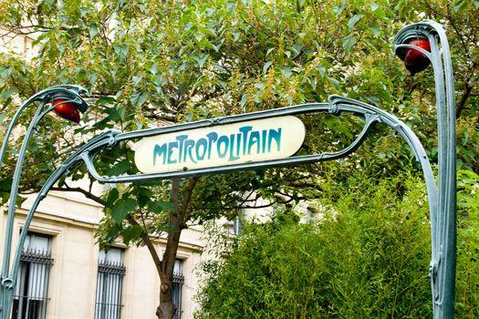 Old Parisian metro sign