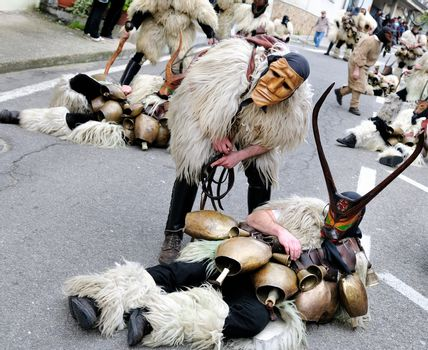 Orani, Sardinia - February 17, 2013: Parade of traditional masks of Sardinia at the Carnival of 17 February 2013 Orani, Sardinia.