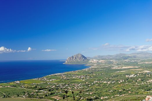 A seascape on the coast of Sicily panoramic