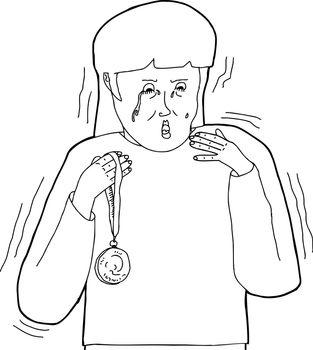 Outline Cartoon of Sore Loser