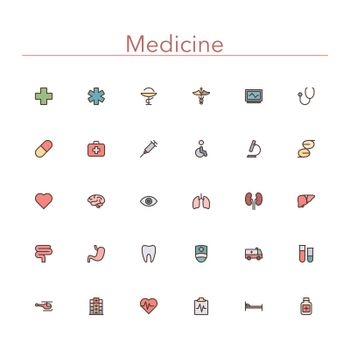 Medicine colored line icons set. Vector illustration.