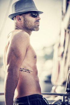 Sexy shirtless sailor