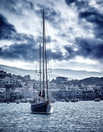 Beautiful sailboat on the sea in storm