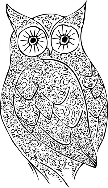 Abstract Vintage Owl Over White Background