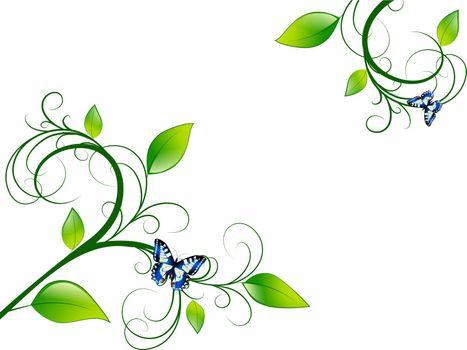 Green Floral Leaf Green Vitality Frame, Copyspace