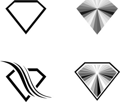 Different Diamond Logo Design Collection Over White Background