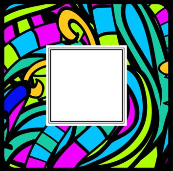 Multicolored Stained-Glass Abstract Frame, Copyspace