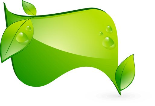 Vitality Green Eco Banner With Leaf and Copyspace