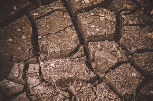 Texture of cracked soil ground in a dry season