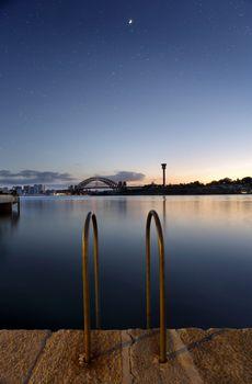 Mezzaluna over Sydney Harbour Bridge at twilight