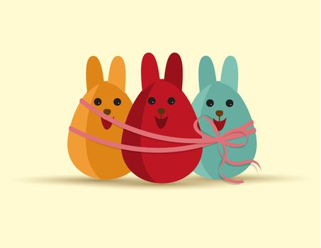 Vector Happy easter eggs with rabbit ears