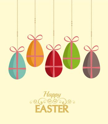 Retro background with Easter eggs, vector illustration