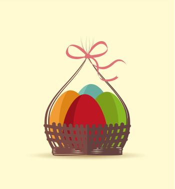 Basket with Easter eggs on vector background