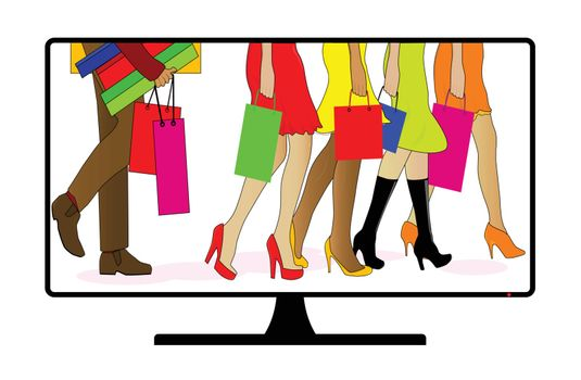 A TV or computer screen with a collection of folk out shopping