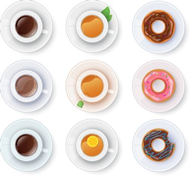 Vector illustration of Tea and coffee with donuts