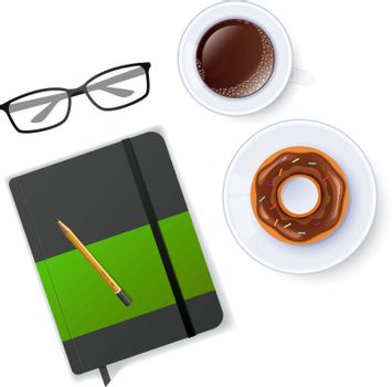 Vector illustration of Scene with notebook and coffee