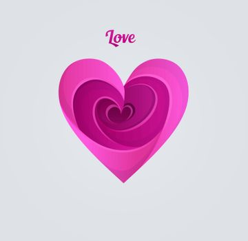Vector illustration of Happy Valentine's day, pink heart