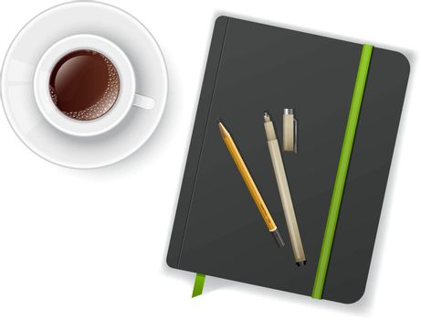 Vector illustration of Notebook with pen and cup of coffee