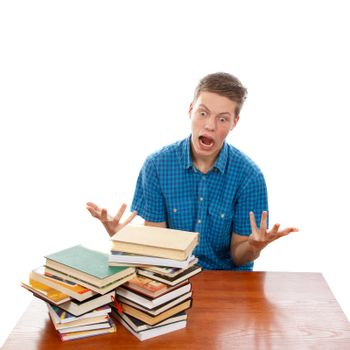 A student raging about his pile of homework