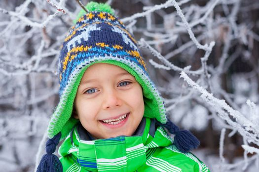 Portrait of a little boy in the snow